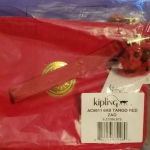 Kipling Red Chinese New Year Wristlet Pouch Clutch